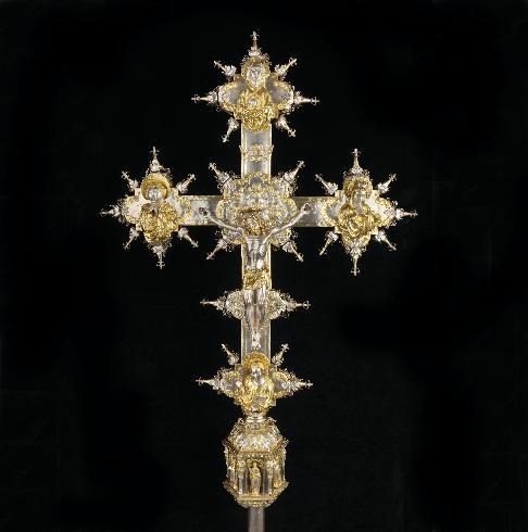 Croce processionale in lamina d'argento meglio...