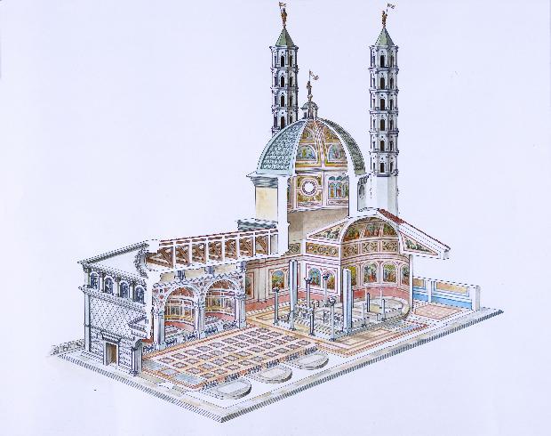 Ricostruzione grafica della cattedrale secondo...
