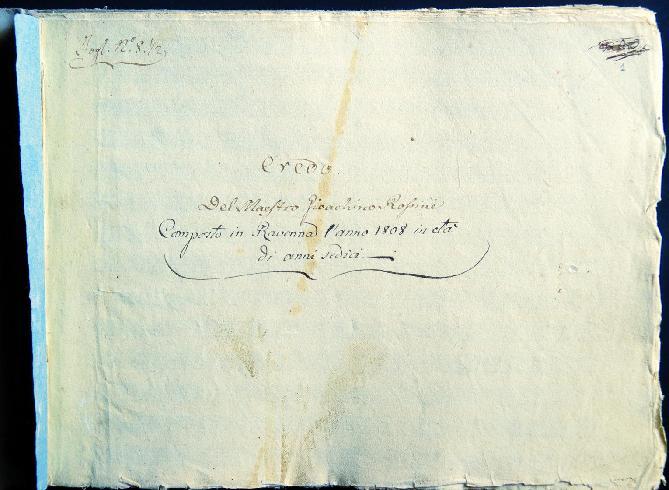 G. Rossini, Partitura autografa, 1808 (frontespizio)