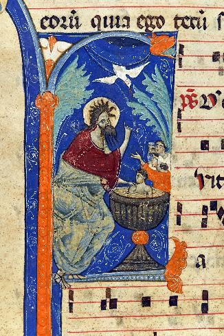 Battesimo di Gesù, miniatura del sec. XIII (ASDRA, Antifonario II di S. Francesco, c. 26r)