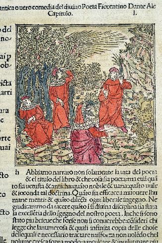 Commento di Cristofofo Landino alla Divina Commedia, 1492 (particolare di xilografia)