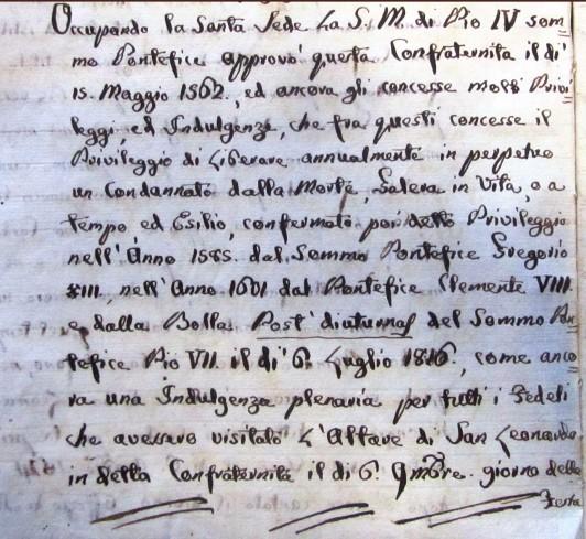 Confraternita di San Leonardo - Privilegio della liberazione di un condannato a morte