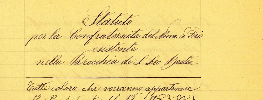 Fondo della Confraternita del Santissimo<br>Nome di Dio di San Leo Bastia<br>Archivio storico diocesano