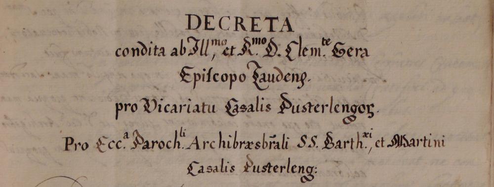 Fondo della Curia vescovile di Lodi<br>Archivio storico diocesano