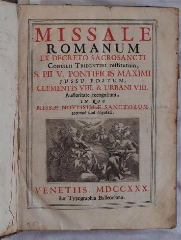 Frontespizio del messale romano promulgato da Pio V nel 1570, qui in un'edizione veneziana del 17...