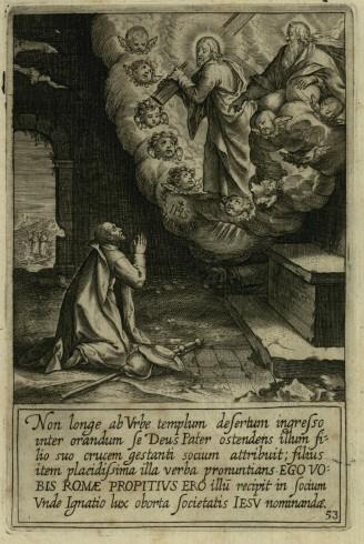 Sant'Ignazio in preghiera in un chiesa poco distante da Roma Illustrazione tratta da Pieter Paul Rubens, Vita Beati P. Ignatii Loiolae Societatis Iesu fundatoris, Roma 1609, tav. 53