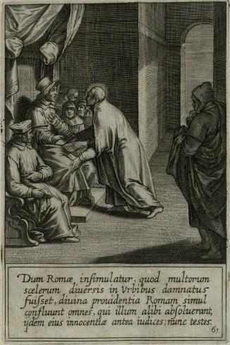 Quando Ignazio ha capito che a Roma lo ritenevano un uomo che in diverse città era stato condannato per i suoi molti delitti, la divina Provvidenza fece arrivare a Roma coloro che in un altro tempo lo avevano accusato come giudici, in modo che potessero divenire testimoni della sua innocenza
