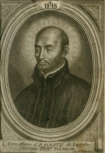 Ritratto di Sant'ignazio da:  Esercizj spirituali di S. Ignazio di Loiola fondatore della compagnia di Gesu, colle bolle de' pontefici...