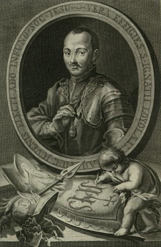 """Ritratto di Sant'ignazio da: """"Exercitia spiritualis S.P. Ignatii Loyola"""" Paris (Typographia Regia) 1644."""