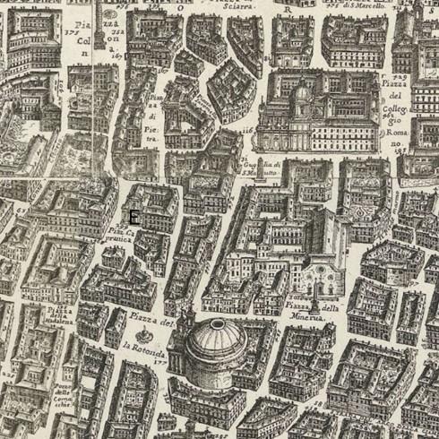 Santa Maria In Aquiro. Mappa della Città di Roma di Giovan Battista Falda del 1676.