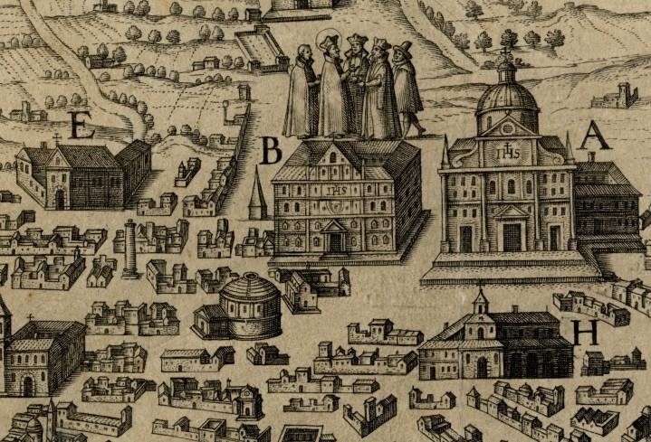 Sant'Ignazio con i suoi Compagni. Pianta Ignaziana di Roma dettaglio.