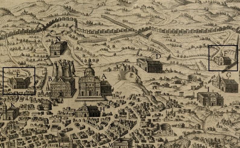 Gli edifici E ed F nella Pianta Ignaziana di Roma (dettaglio).