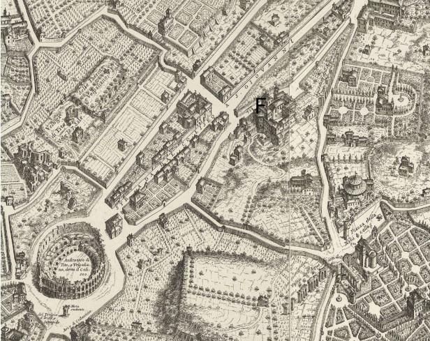 F. Orfanotrofio femminile  - Monastero dei Santi Quattro Coronati. Mappa della Città di Roma di Giovan Battista Falda del 1676.