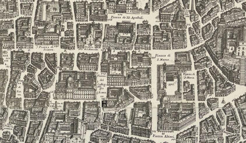 H - Santa Marta il rifugio per le donne penitenti. Mappa della Città di Roma di  G.B. Falda 1676