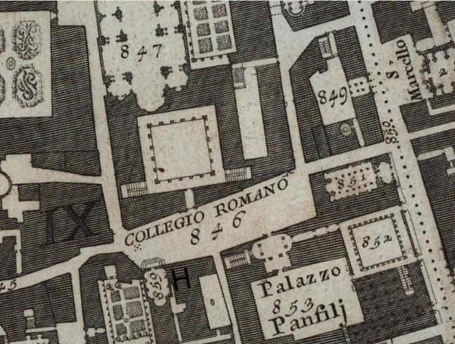 H - Santa Marta il rifugio per le donne penitenti sulla pianta del Nolii del 1748