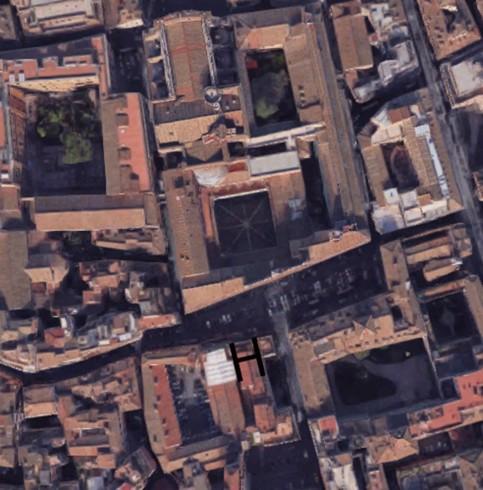Veduta dal satellite dell'area della Chiesa e del Monastero di Santa Marta (H)