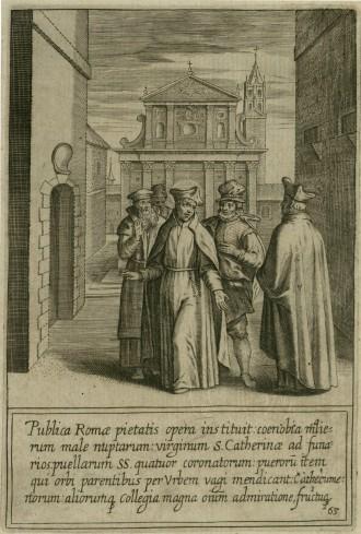 Sant'ignazio al centro dell'immagine del volume di Rubens,  è raffigurato con alle spalle la Chiesa di Santa Caterina dei Funari, uno dei tanti luoghi da Lui fondato per accogliere i derelitti di Roma.