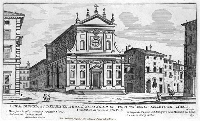 Santa Caterina dei Funari nell'icisione di Giovan Battista Falda 1665