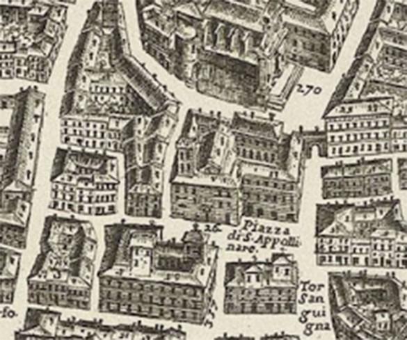 Piazza di Sant'Apollinare - Dettaglio della Mappa della Città di Roma di  G.B. Falda 1676.
