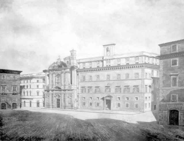 Il Palazzo del Collegio Germanico con a fianco alla Chiesa di Sant'Apollinare in una foto dei primi anni del XX sec.