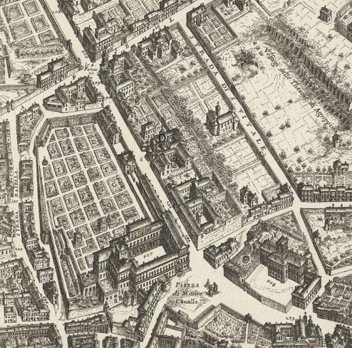 La lettera D indica Sant'Andrea al Quirinale, nel dettaglio di Mappa della Città di Roma di Giovan Battista Falda del 1676.