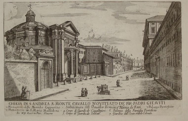 Sant'Andrea al Quirinale inicisione di Giuseppe Falda 1669