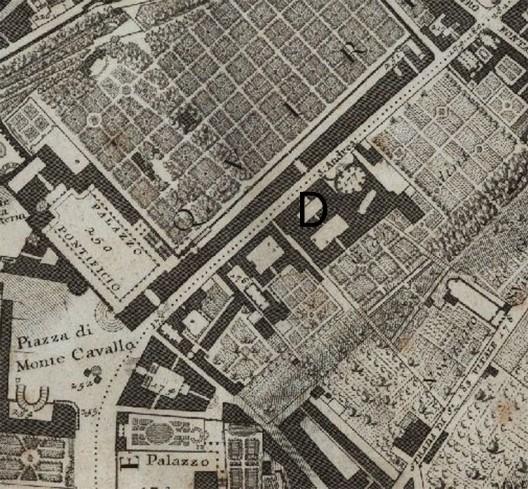 Mappa della Città di Roma di Giovan Battista Nolli del 1748. La lettera D indica il Noviziato di fianco a Sant'Andrea al Quirinale.