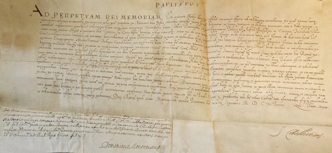 AD PERPETUAM REI MEMORIAM - Breve di Paolo V. 1610