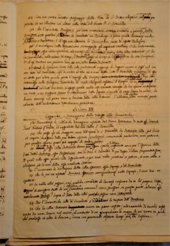 Pagina del manoscritto: Spicilegio di Notizie sul M. Corona: Sezione III - Capacità e Dimensione delle vetuste celle eremitiche