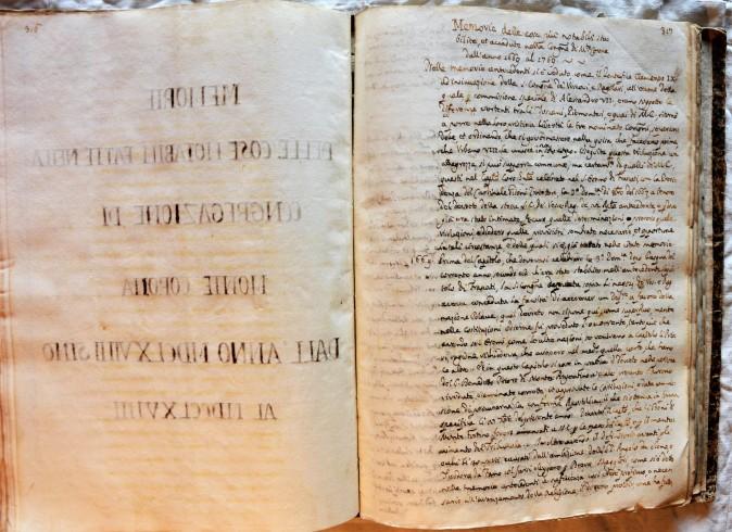 Fontespizio del Manoscritto; Memorie delle cose notabili fatte nella congregazione di Monte Corona dall'Anno MDCLXVIIII fino all'Anno MDCCLXVIIII