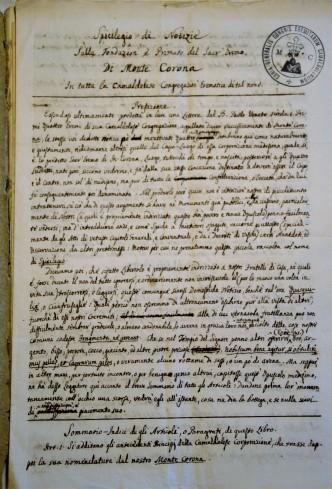 Inizio del manoscritto Spicilegio di Notizie sul Monte Corona  Sulla fondazione e Primato del Sacr'Eremo di Monte Corona In tutta la Camaldolese Congregazione Eremitica di tal nome