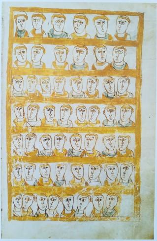 Leges Salicae - I Legislatori. Gli autori, ecclesiastici e laici, che contribuirono alla stesura della legge salica, sono rappresentati da busti maschili allineati e disposti a coppie su 18 registri, 9 per ogni illustrazione.