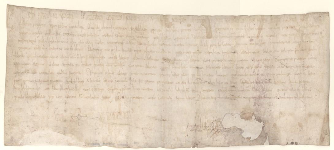 Carlo Magno e le concessioni all'abate Anselmo. Archivio Abbaziale di Nonantola, Pergamene, I.8, 780 luglio 28, Lippsringe.