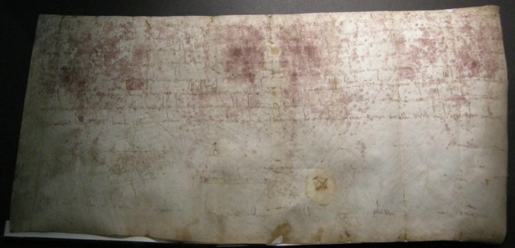Carlo Magno e le concessioni all'abate Anselmo ampliando i territori di pertinenza abbaziale. Archivio Abbaziale di Nonantola, Pergamene, I.11, 797 gennaio-giugno, Aquisgrana.