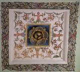 Carota O. (1581), Lacunare a grottesche con fiore dorato 10/12
