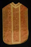 Manifattura toscana sec. XVI, Pianeta con motivo a melograni a griglia