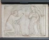 Ambito pisano sec. XIV, Lastra di ambone con l'Annunciazione