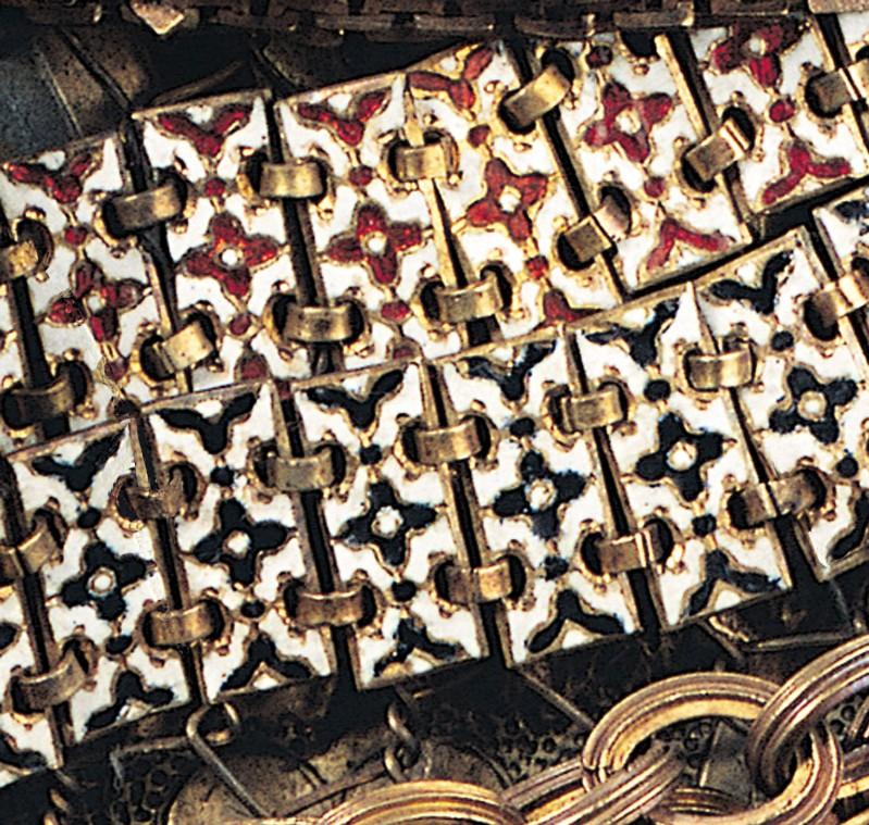Bottega siciliana secc. XVI-XVII, Ex voto a collana bianco azzurro rosso