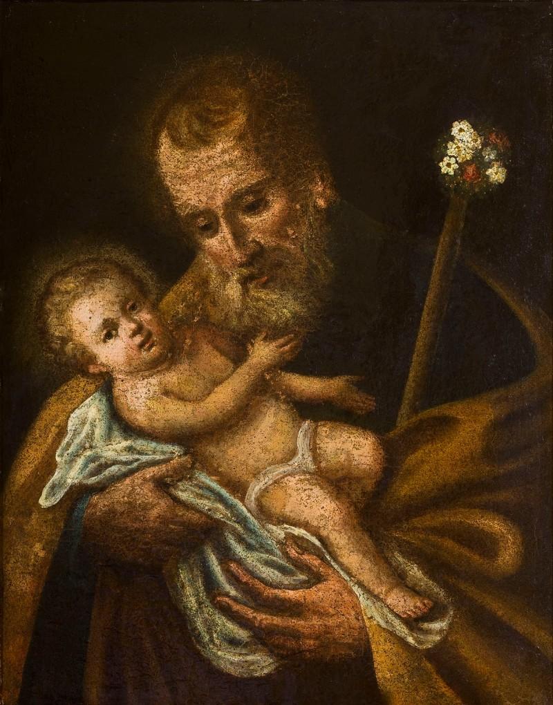 Bottega siciliana seconda metà sec. XVIII, Dipinto di S. Giuseppe e Gesù Bambino