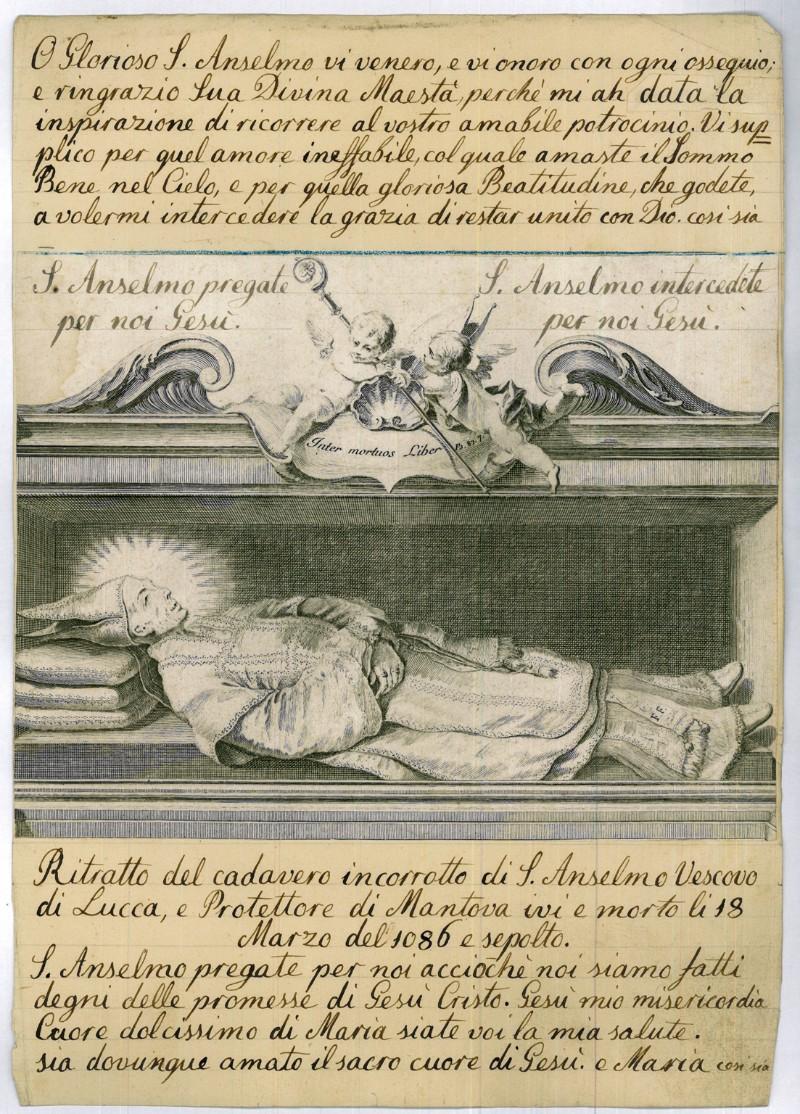 Orsolini C. sec. XVIII, Ritratto di S. Anselmo morto