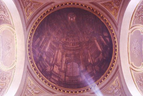 Finta cupola prospettica su tela di Venanzio Mascitelli (1828)
