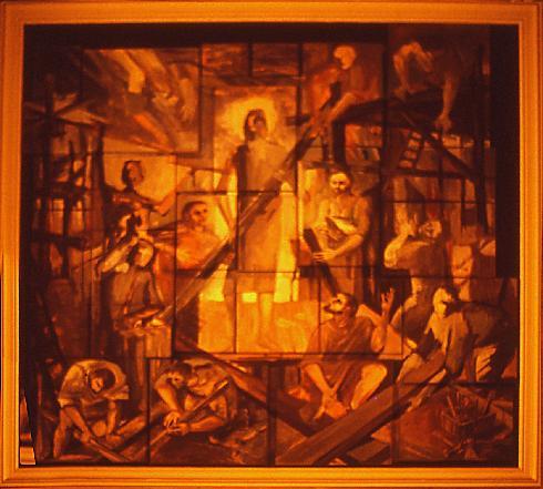 Quadro raffigurante Gesù lavoratore,  del pittore-scultore Di Fabio