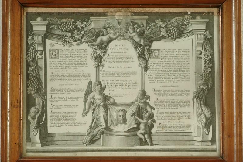 Ambito veneto sec. XVIII, Cartagloria con stampa del Sacrum Convivium