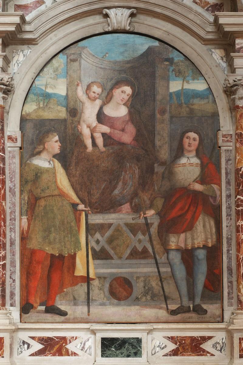 Fogolino M. sec. XVI, Madonna in trono fra i Santi Giovanni e Paolo
