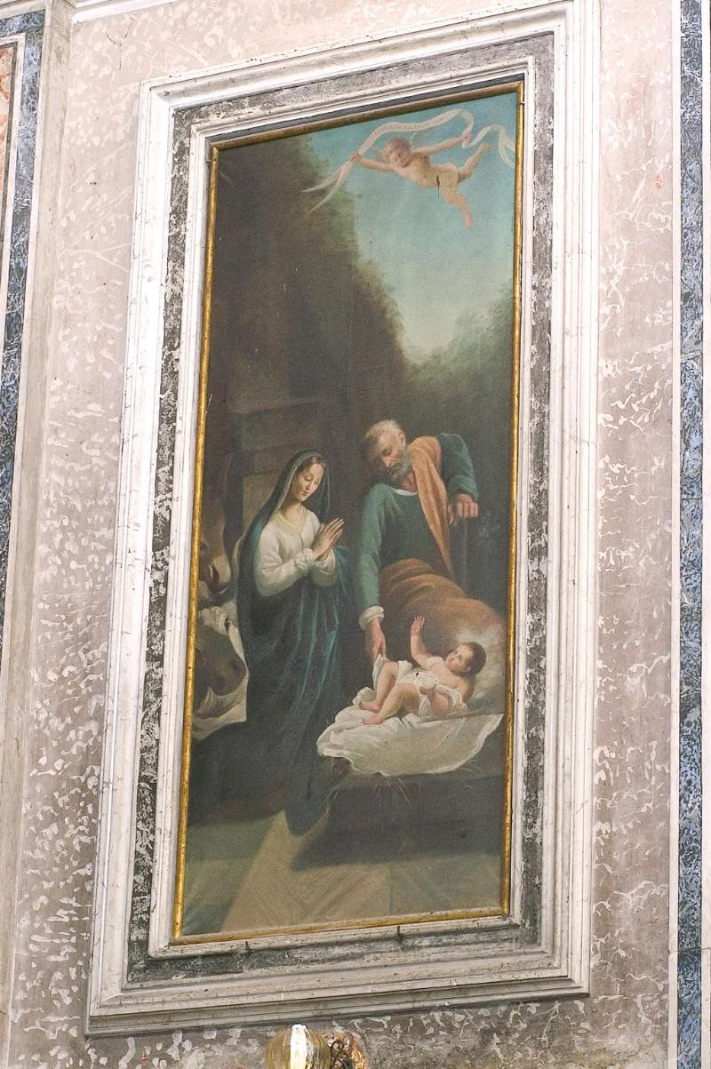 Ambito napoletano sec. XIX, Natività di Gesù in olio su tela