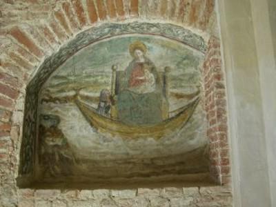 Affresco Madonna della barca di Gandolfino da Roreto (XVI sec. d.C.)