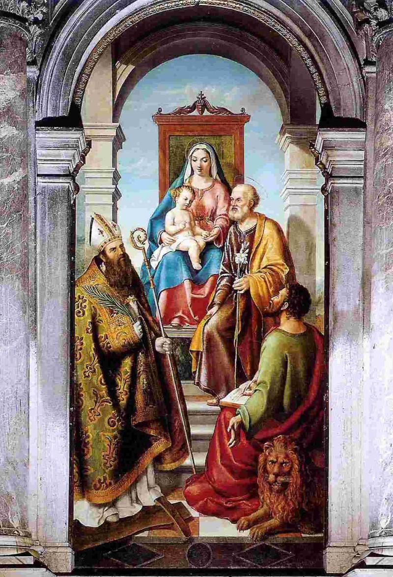 Santini Manfrin M. (1865), Sacra famiglia con San Foca e San Marco