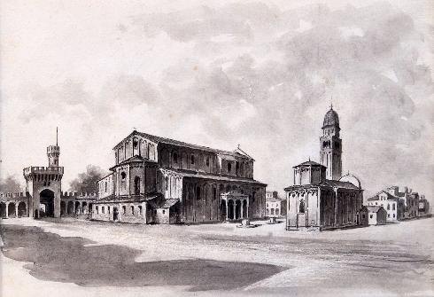 Esterno dell'antica cattedrale incendiata nel 1623. Ricostruizione dell'architetto A. Naccari