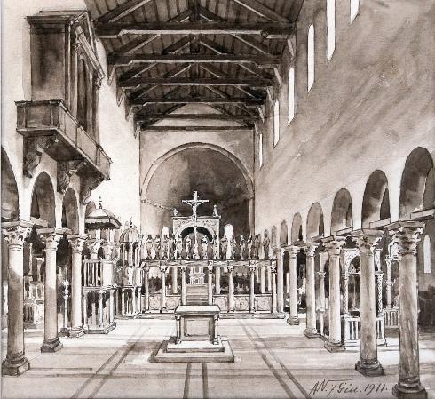 Interno dell'antica cattedrale incendiata nel 1623. Ricostruizione dell'architetto A. Naccari