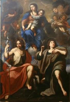 Vergine con il Bambino ei Santi Giovanni Evangelista e Giovanni Battista, scuola romana, sec. XVII